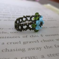 Crystal Pretty Blue Beaded Flower Ring