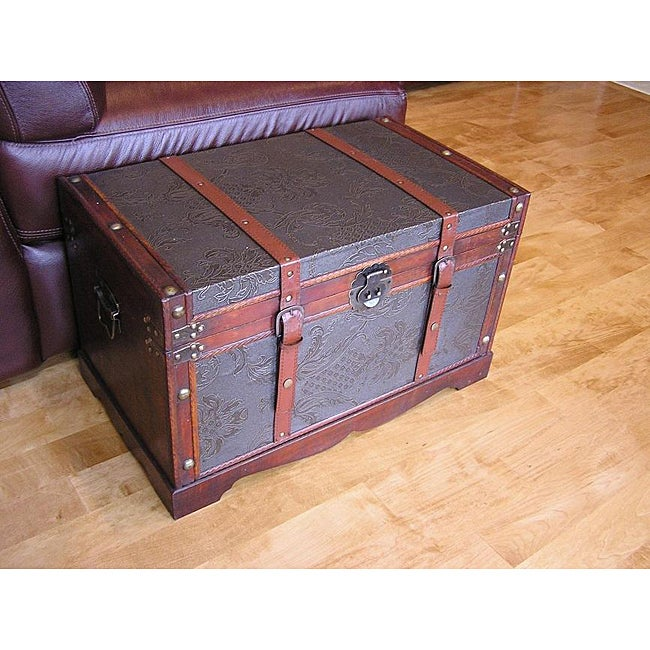 Sienna Medium Faux Leather Wooden Chest Steamer Trunk - Thumbnail 0