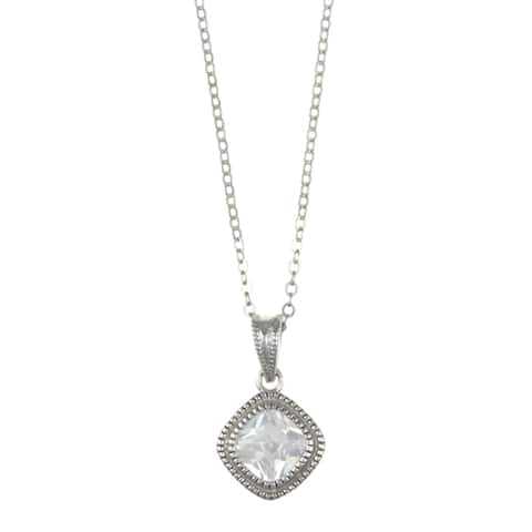 La Preciosa Sterling Silver Princess-cut Cubic Zirconia Necklace