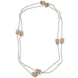 La Preciosa Sterling Silver Brown and White Glass Necklace