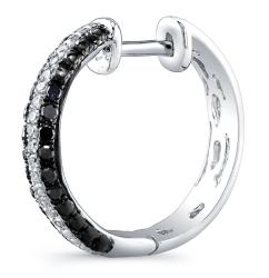 Victoria Kay Sterling Silver 1/3ct TDW Black and White Diamond Hoop Earrings - Thumbnail 1