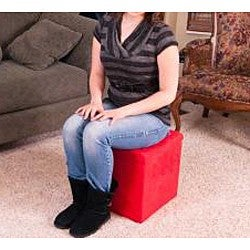 Red Microfiber Storage Ottoman