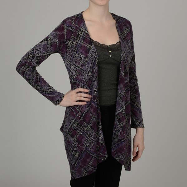 Simply Irresistible Women's Purple Abstract Plaid Open-front Cardigan