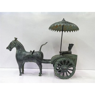 Chinese Bronze Chariot with Rider Statue