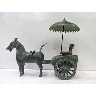 Chinese Bronze Chariot with Rider Statue