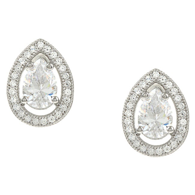 La Preciosa Sterling Silver Cubic Zirconia Teardrop Earrings