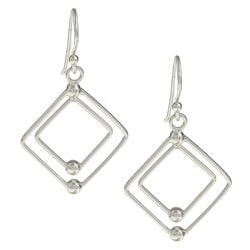 La Preciosa Sterling Silver Open Square Earrings