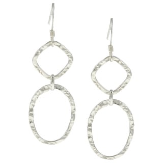 La Preciosa Sterling Silver Square and Oval Hammered Drop Earrings