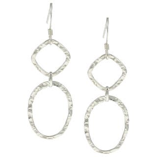 La Preciosa Sterling Silver Square and Oval Hammered Drop Earrings|https://ak1.ostkcdn.com/images/products/5977618/P13669585.jpg?impolicy=medium