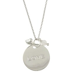 La Preciosa Silver Rose Quartz 'Love' Disc and Heart Necklace