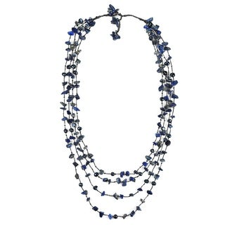 Handmade Cotton Rope Pearl and Lapis Stone Layered Necklace (7-9 mm) (Thailand)