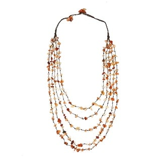 Cotton Rope Carnelian and Quartz Stone Layered Necklace (Thailand)