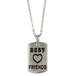 La Preciosa Sterling Silver Black Enamel 'Best Friends' Necklace