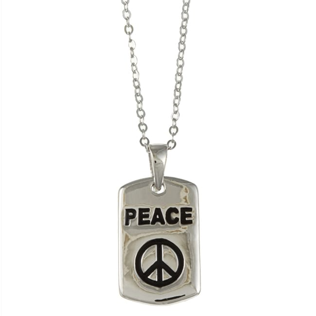 La Preciosa Sterling Silver Black Enamel 'Peace' Necklace