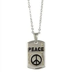 La Preciosa Sterling Silver Black Enamel 'Peace' Necklace