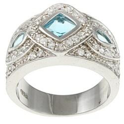 La Preciosa Sterling Silver Blue and Clear Cubic Zirconia Ring