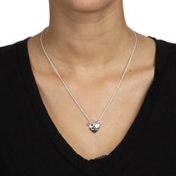 La Preciosa Sterling Silver 'Best Friends' Cracked Heart Necklace