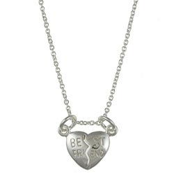 La Preciosa Sterling Silver 'Best Friends' Cracked Heart Necklace