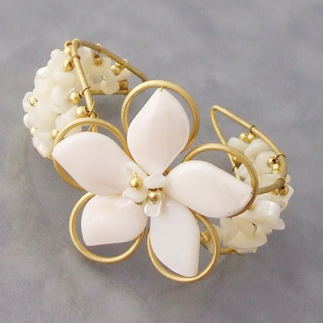 Handmade Goldtone Mother of Pearl Floral Cuff (Thailand)