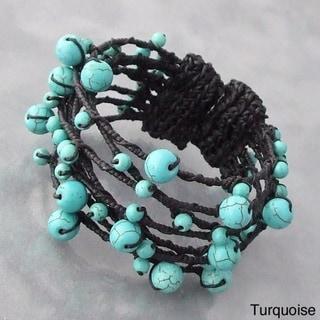 Cotton Contempo Bohemian Criss Cross Wrap Pearl/ Coral/ Turquoise Cuff (5 - 11 mm) (Thailand)