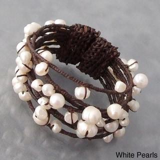 Handmade Cotton Contempo Bohemian Criss Cross Wrap Pearl/ Coral/ Turquoise Cuff (5 - 11 mm) (Thailand)