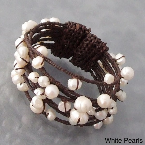 Cotton Contempo Bohemian Criss Cross Wrap Pearl/ Coral/ Turquoise Cuff (5 - 11 mm) (Thailand)