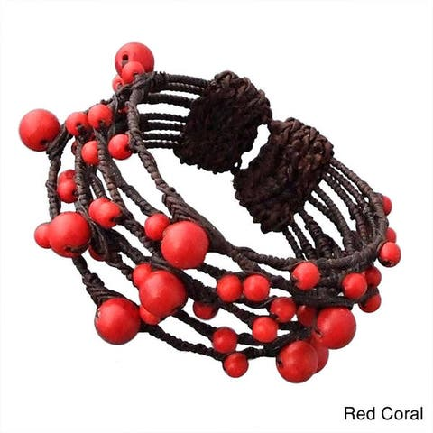 Handmade Native Layered Stone Rope Wrap Cuff Bracelet (Thailand)