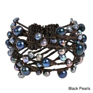 Handmade Native Layered Stone Rope Wrap Bracelet (Option: Black)