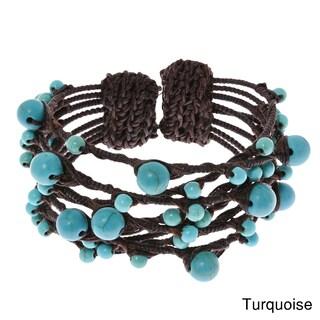 Handmade Native Layered Stone Rope Wrap Bracelet