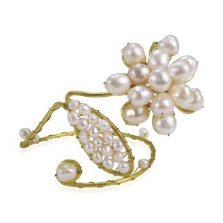 Handmade Brass Pearl Bracelet Arm Cuff (Thailand)