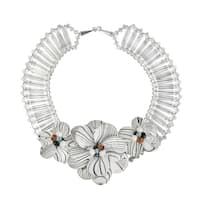 Handmade Silvertone Mother of Pearl/ Pearl Floral Necklace (5-7 mm) (Thailand)