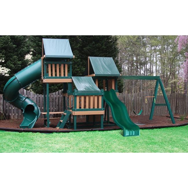 Congo Monkey Playsystem #4 Green Maintenance and Splinter Free Swing Set