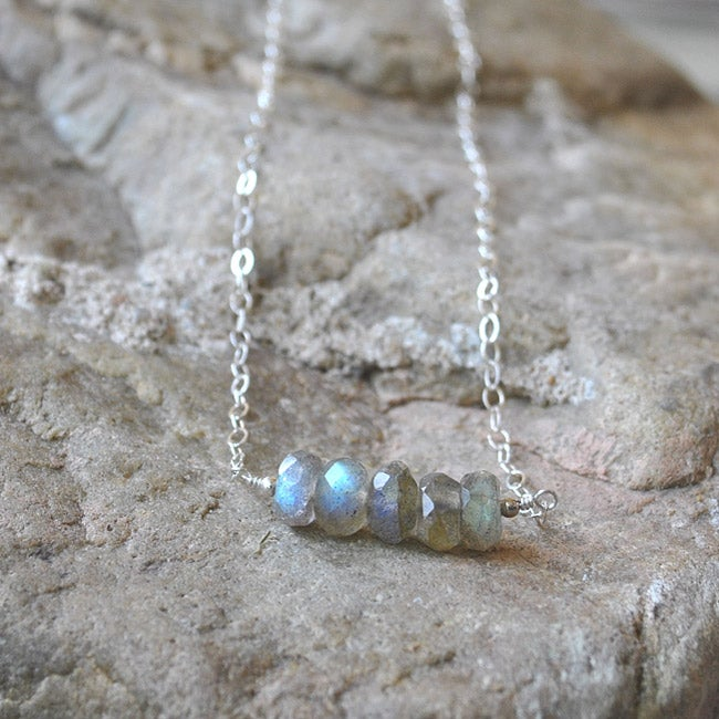 AEB Design Sterling Silver Labradorite Swing Necklace