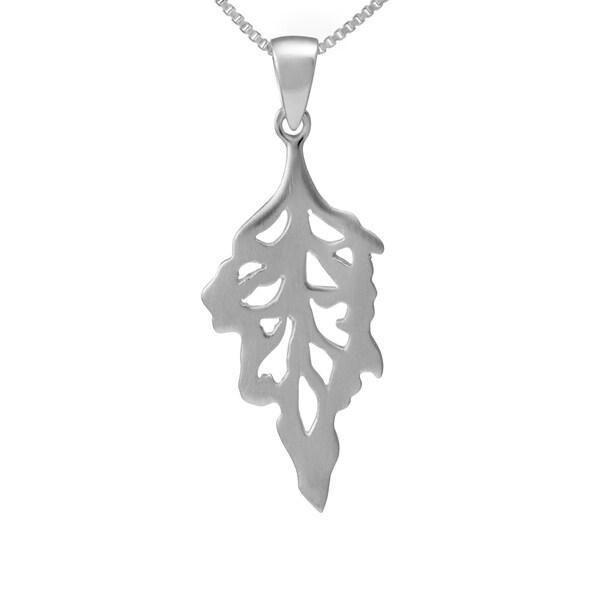 Sterling Silver Leaf Brushed Necklace (Thailand)