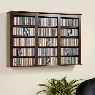 Everett Espresso Wall  Hanging Media Storage Cabinet