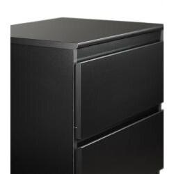 Escala Black Two-drawer Locking Night Stand - Thumbnail 1