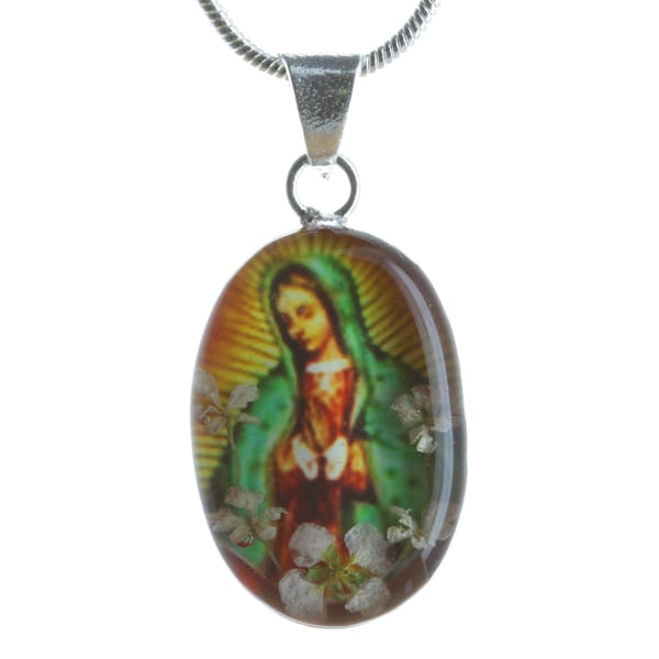 Sterling Silver Snow White Flower Lady of Guadalupe Necklace (Mexico)