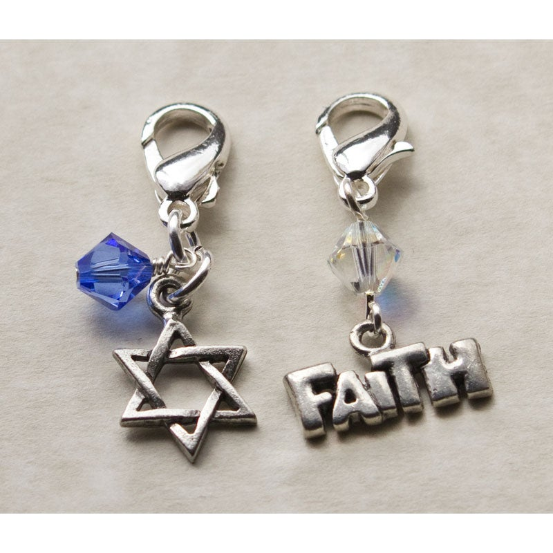Fashion Forward Pewter Star of David/Faith Charms (Set of 2)