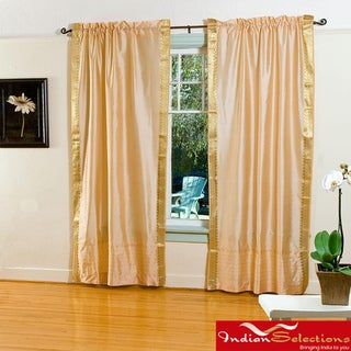 Handmade Golden Sheer Sari 84-inch Rod Pocket Curtain Panel Pair (India)