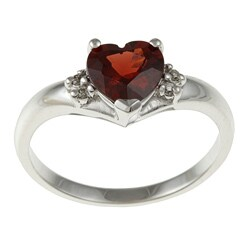 Sofia 14k White Gold Heart-cut Garnet and Diamond Accent Ring (J-K, I1-I2) - Red