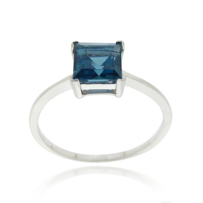 Glitzy Rocks Silver 2 1/6ct TGW London Blue Topaz Square Solitaire Ring