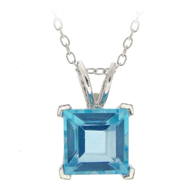 Glitzy Rocks Silver Swiss Blue Topaz Square Solitaire Necklace