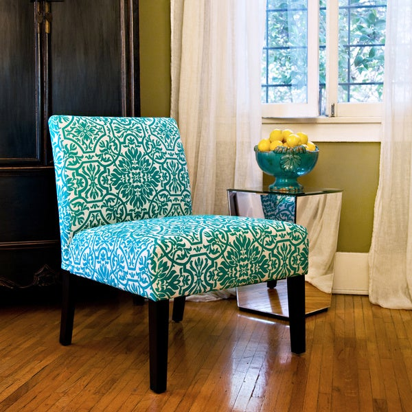 Merveilleux Handy Living Bradstreet Damask Turquoise Blue Upholstered Armless Chair