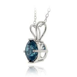 Glitzy Rocks Silver 1 1/2ct TGW London Blue Topaz Solitaire Necklace