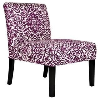 Handy Living Bradstreet Modern Damask Provence Purple Upholstered Armless Chair