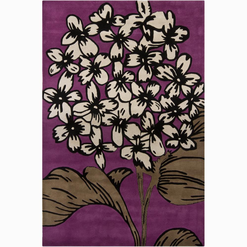 Hand-tufted Mandara Purple Floral New Zealand Wool Rug (5' x 7'6)