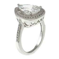 La Preciosa Sterling Silver Cubic Zirconia Teardrop Ring - Thumbnail 1