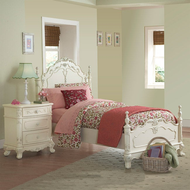 TRIBECCA HOME Fairytale Victorian Princess White Twin-size Bed and End Tables