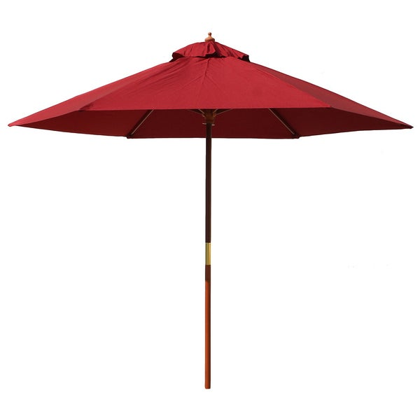 International Caravan Balau Hardwood 9.8-foot 8-ribbed Push-up Umbrella with Pulley System