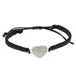 La Preciosa Sterling Silver Crystal Heart Macrame Bracelet